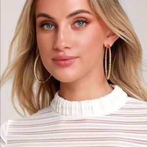 Lulu's Thera Gold hoop earrings NWOT!!